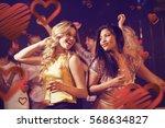 happy friends dancing against... | Shutterstock . vector #568634827