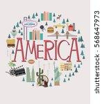 set of america landmarks.... | Shutterstock .eps vector #568647973