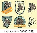 set of horse head logo  badges...   Shutterstock .eps vector #568651357