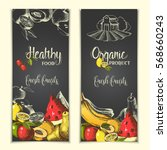 banner with hand drawn fruit.... | Shutterstock .eps vector #568660243