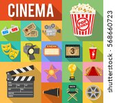 cinema and movie flat icons set ... | Shutterstock .eps vector #568660723