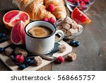 coffee  croissants with... | Shutterstock . vector #568665757
