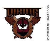 emblem viking warrior skull logo   Shutterstock .eps vector #568677703