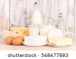 dairy products on wooden... | Shutterstock . vector #568677883