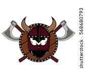 emblem viking warrior skull logo   Shutterstock .eps vector #568680793