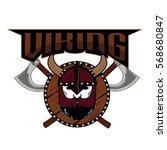 emblem viking warrior skull logo   Shutterstock .eps vector #568680847