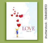 valentine's  day. card with boy ... | Shutterstock .eps vector #568683853