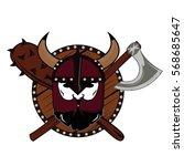 emblem viking warrior skull logo   Shutterstock .eps vector #568685647