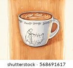 Stock photo white cup of cappuccino with a picture of funny kitten hand drawn illustration 568691617