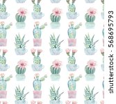 hand drawn watercolor saguaro... | Shutterstock . vector #568695793