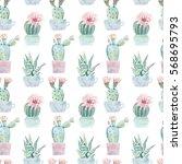 hand drawn watercolor saguaro... | Shutterstock . vector #568695793