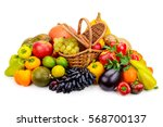 Basket With Fresh Fruits And...