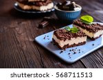 delightful cocoa cake with... | Shutterstock . vector #568711513