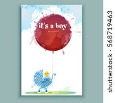 Birthday Card. Boy With Balloo...
