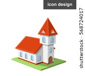 vector icon of catholic castle... | Shutterstock .eps vector #568724017
