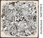 cartoon cute doodles hand drawn ... | Shutterstock .eps vector #568729873