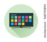 smart tv icon in flat style.... | Shutterstock .eps vector #568745893