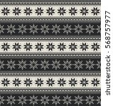 winter holiday seamless knitted ... | Shutterstock .eps vector #568757977