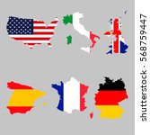 set of map flags usa  italy ... | Shutterstock .eps vector #568759447