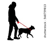 silhouette of people and dog.... | Shutterstock .eps vector #568759813
