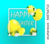 happy easter bright banner... | Shutterstock .eps vector #568766713
