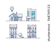 set of urban and suburban... | Shutterstock .eps vector #568769113