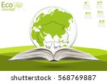 globe and tree in the open... | Shutterstock .eps vector #568769887