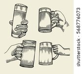 hand holding a full glass of... | Shutterstock .eps vector #568776073