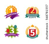happy birthday badges vector...   Shutterstock .eps vector #568781557