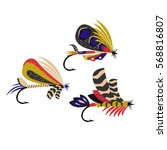 fly fishing flies. | Shutterstock .eps vector #568816807