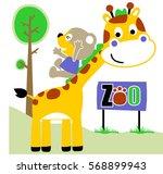 bear slide down in giraffe neck ...   Shutterstock .eps vector #568899943