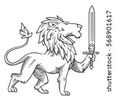 vector image of heraldic lion... | Shutterstock .eps vector #568901617