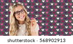 gorgeous smiling blonde hipster ... | Shutterstock . vector #568902913