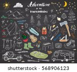 camping  hiking hand drawn... | Shutterstock .eps vector #568906123
