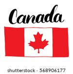 canada hand drawn flag  with... | Shutterstock .eps vector #568906177