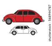 bug shape old car in red  ... | Shutterstock .eps vector #568944787