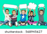children smiling happiness... | Shutterstock . vector #568945627