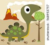 dinosaur eat leaves  vector... | Shutterstock .eps vector #568953757