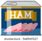 sliced ham in aluminum can... | Shutterstock .eps vector #568969327