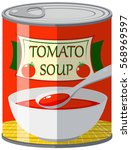 canned food for tomato soup... | Shutterstock .eps vector #568969597