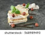 white chocolate with hazelnut ... | Shutterstock . vector #568989493