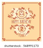 vector happy birthday card with ... | Shutterstock .eps vector #568991173