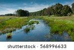 Narrow River. Field. Wood....