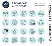 car racing vector line icons....   Shutterstock .eps vector #568998223