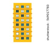 yellow apartment building line... | Shutterstock .eps vector #569017783