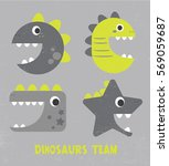 cute dinosaur vector drawing... | Shutterstock .eps vector #569059687