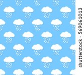 blue sky with cloud and rain ... | Shutterstock .eps vector #569061013