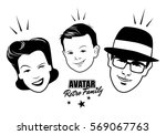avatar retro family. cartoon...