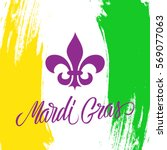 mardi gras greeting card with... | Shutterstock .eps vector #569077063