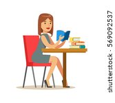 woman reading a book at the... | Shutterstock .eps vector #569092537
